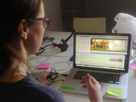 Particpants editing their movies